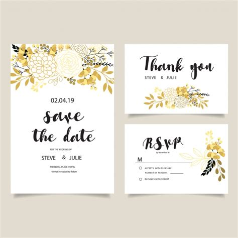 Wedding Card Flowers by White Wedding Card With Golden Flowers Collection Vector