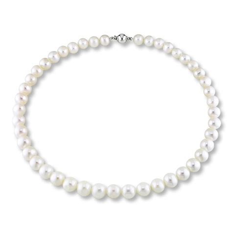 cultured pearl necklace sterling silver