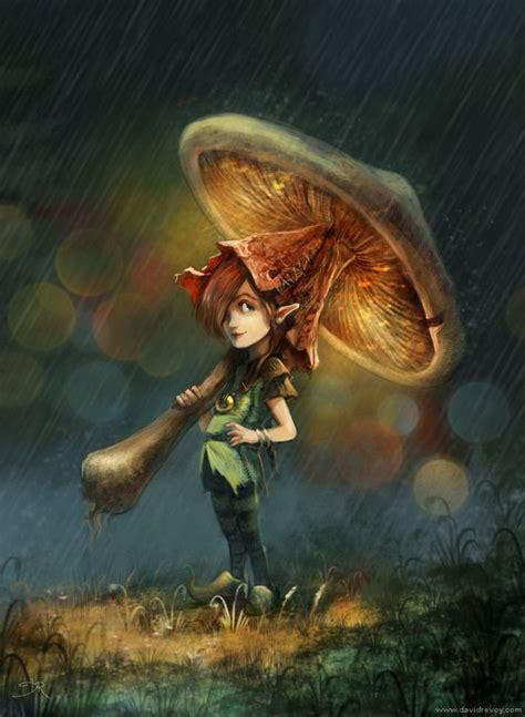 a little pixie girl with a mushroom umbrella a cute