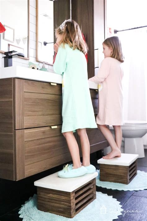 diy wooden step stool  white concrete top designertrappedcom