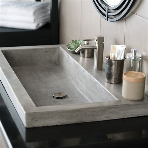 Luxury Powder Room Vanities Trough 3619 Nativestone 174 Rectangular Bathroom Sink