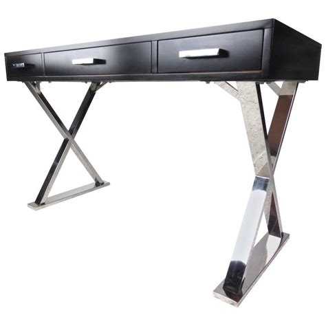 contemporary modern three drawer x base writing desk for