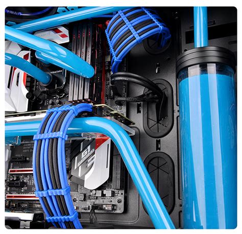 thermaltake global ttmod sleeve cable blue and black