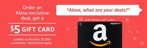 Amazon Prime Gift Card Deal - prime members buy any quot alexa shopping deal quot for 10 or more get 5 amazon gift card