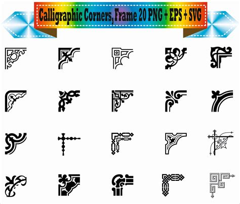 eps clipart classic corner flowers vintage calligraphic border vector