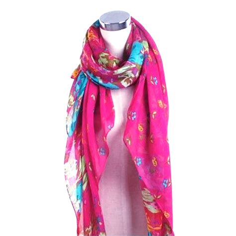 fashion womens floral flower scarf shawl