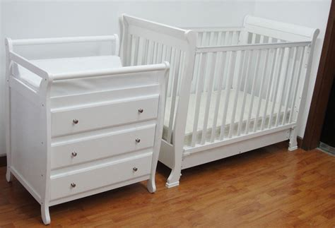 Cots And Change Tables 3 In 1 Wooden Baby Cot In White With Changing Table Baby Furniture Vickysun Furniture