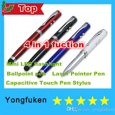 4in1 Stylus Capacitive Touch Pen Ballpoint Laser Pointer White L T19 multi function 4 in 1 laser pointer pen capacitive touch pen stylus mini led flashlight