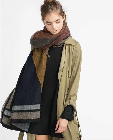 zara jacquard scarf in brown lyst