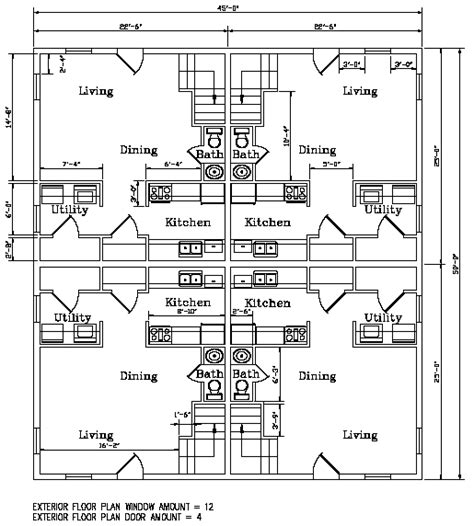 fourplex floor plans biulding plans for a four plex