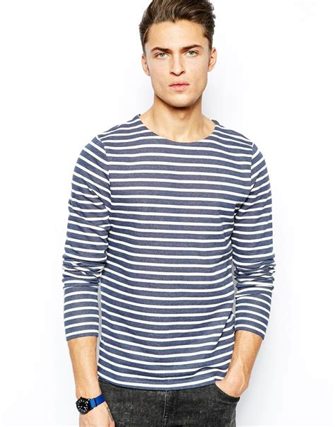 Tshirt Longslave Modiss lyst asos stripe sleeve t shirt in blue for