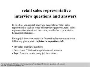 retail sales representative questions and answers