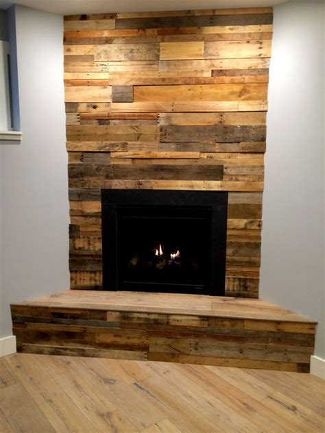 wood panel fireplace recycled pallet and reclaimed wood paneling rustic family room