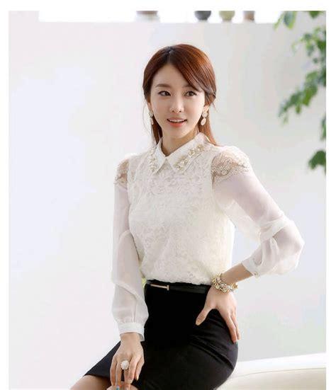 Islan Wanita Putih Atasan Wanita 1 atasan wanita brokat korea lengan panjang http www eveshopashop kemeja putih wanita lengan