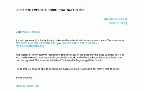 Raise Letter To Employee Template Salary Increase Letter Template From Employer To Employee The Letter Sle