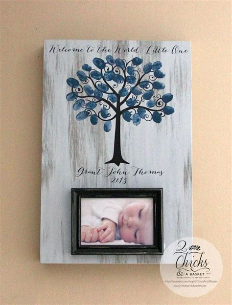 picture frame alternatives baby shower fingerprint tree picture frame guest book
