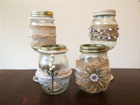 Decorating Ideas With Jars by Shabby Chic Jars Decorated With Burlap Lace And