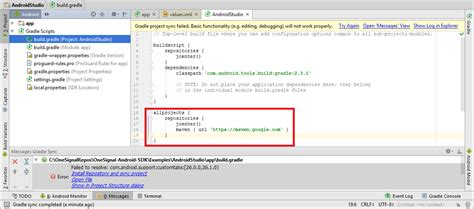 android studio maven onesignal push notification service documentation