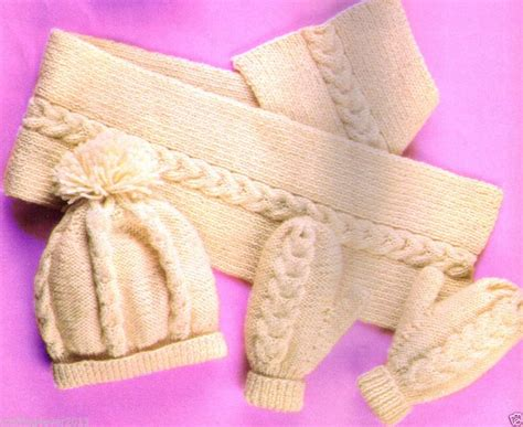 knitting pattern for hat scarf and gloves vintage unisex cable hat scarf gloves adults child s 8