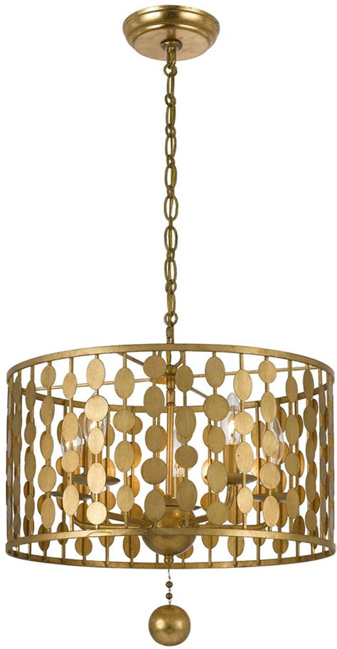 Kenroy Chandelier Crystorama 545 Ga Layla Modern Antique Gold Drum Pendant