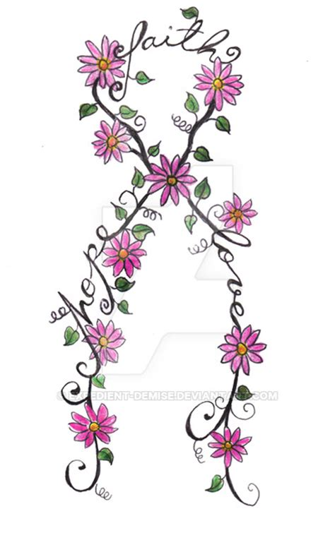 cancer ribbon tattoo flowers by expedient demise on