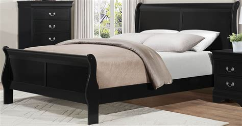 mayville burnished black queen sleigh bed from homelegance