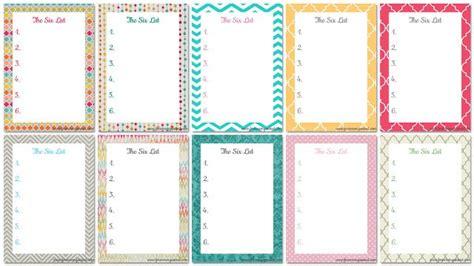 dd 3 5 template list the six list www foreverorganised she also has