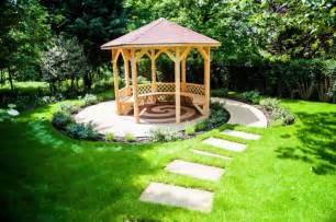 Backyard Gazebo Ideas Small Garden Gazebo With Pathways Green Garden In Backyard Olpos Design