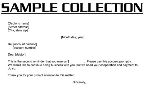 28 collections letter template for business exle