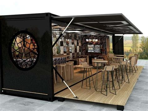 Home made kitchen units, shipping container coffee shop