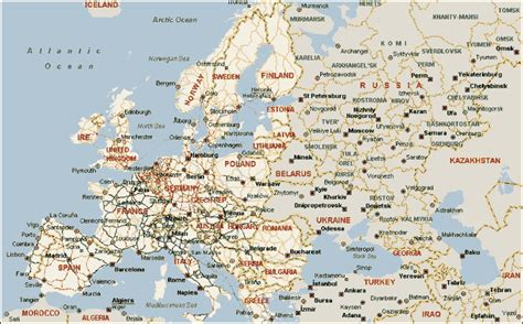 printable road map of europe maps update 1412997 detailed travel map of europe