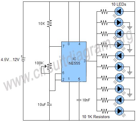 layout pcb running led 555 running leds circuit diagram