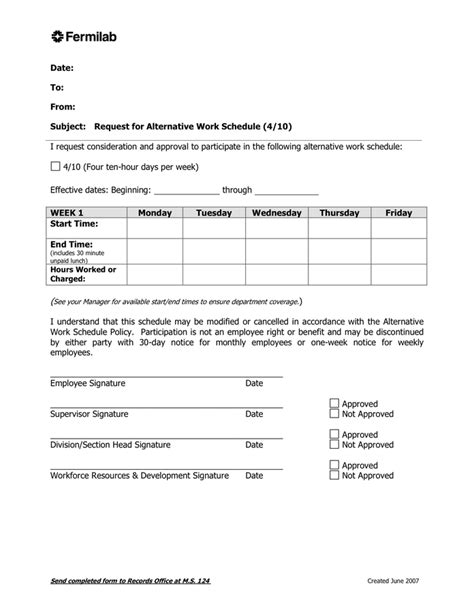 compressed work week template alternative work schedule agreement in word and pdf formats