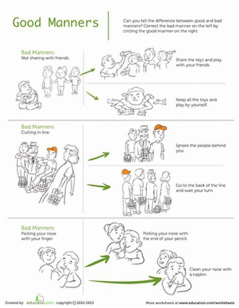 worksheets for preschoolers on manners manners worksheet education com
