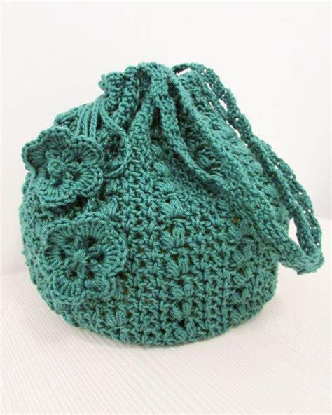 crochet pattern for bucket bag emerald green crocheted bucket bag drawstring pouch