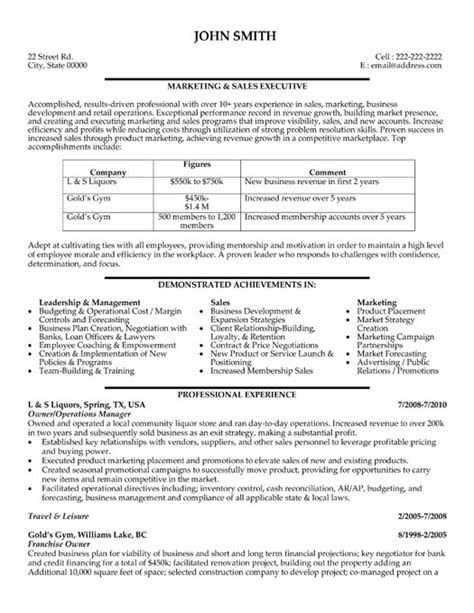 Sales Marketing Resume Sle by Stron Biz Sle Resume For Experienced Sales And Marketing Professional