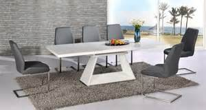 modern white high gloss extending dining table and 6 grey