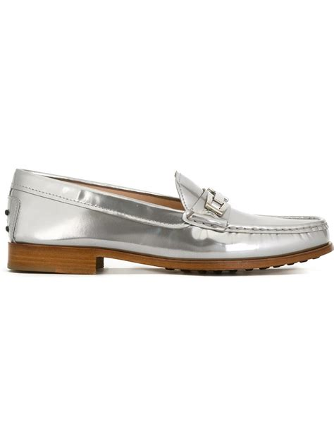 silver loafers metallic tod s metallic loafers in silver metallic save 60 lyst