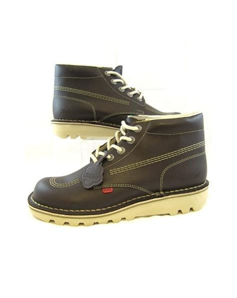 Sepatu Kickers Brontosaurus Casual Brown Leather kickers kick hi boots in leather chocolate brown 0