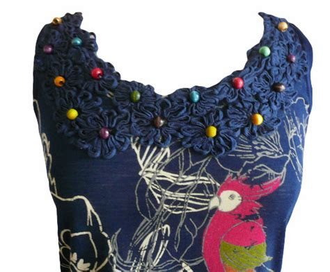 Dx 43 Dress Flower Navi yumi xaviera parrot dress navy s m born2style fashion store