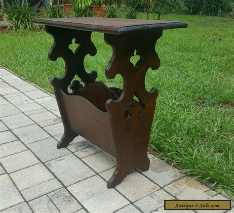 Vintage Table Ls For Sale by Antique Vintage Carved Mahogany Magazine Rack End Table