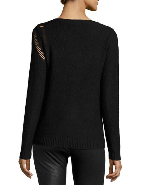 Sweater Celsius lyst zero degrees celsius slash distressed sweater in black