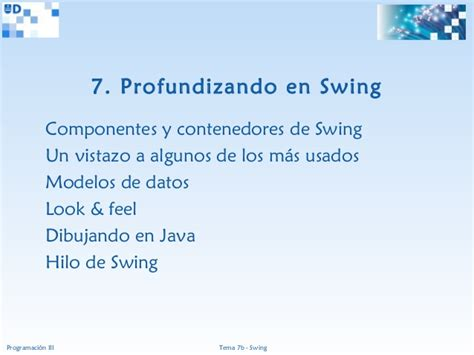 java swing ppt programaci 243 n iii java 07b swing