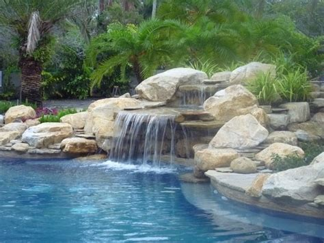 rock waterfalls for pools pool waterfall and rock garden in south florida
