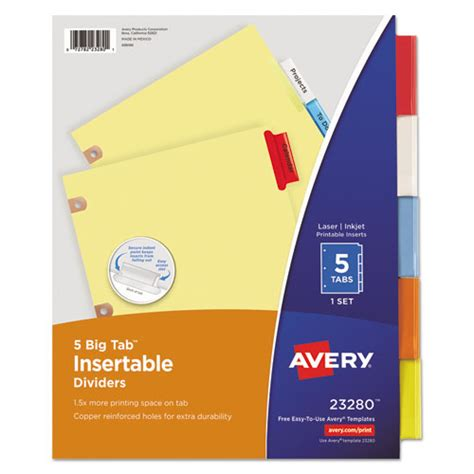 Ave23280 Avery Insertable Big Tab Dividers Zuma Avery Insertable Dividers Template
