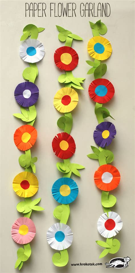 paper flower garland template krokotak paper flower garland