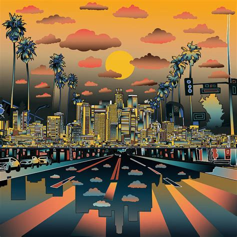 Home Decor Blogs 2014 by Los Angeles Skyline Abstract 2 Painting By Bekim Art