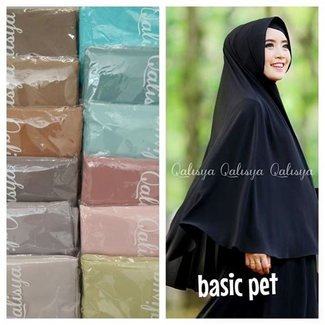 Khimar Simple Pet basic khimar pet antem by qalisya pusat grosir jilbab modern