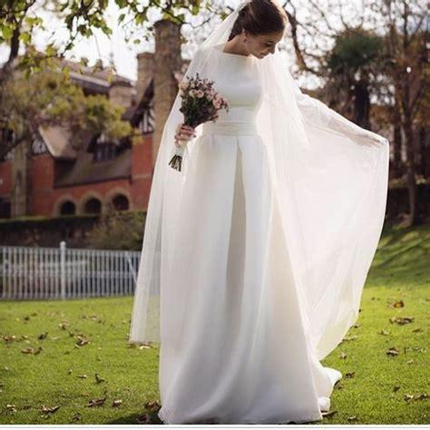 boat neck long sleeve wedding dress simple elegant wedding dress boat neck by miss zhu bridal