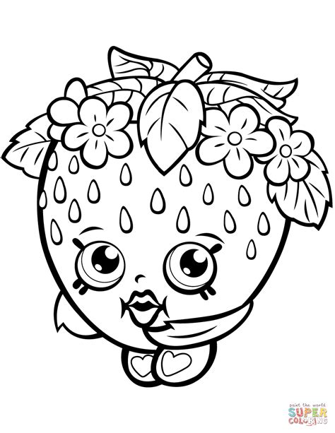 Strawberry Kiss Shopkin Coloring Page Free Printable Pages To Colour